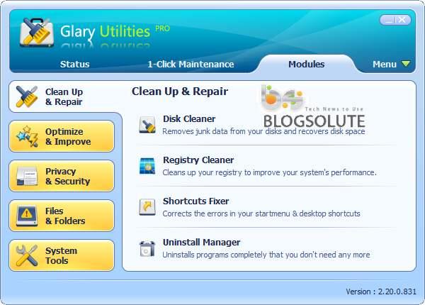 افزایش سرعت رایانه Glary Utilities PRO